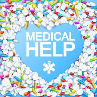 Leki z kolorowymi kapsułkami w kształcie serca, lekarstwami i lekami