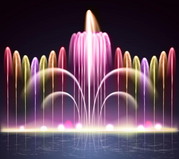Lekka fontanna realistyczne tło noc