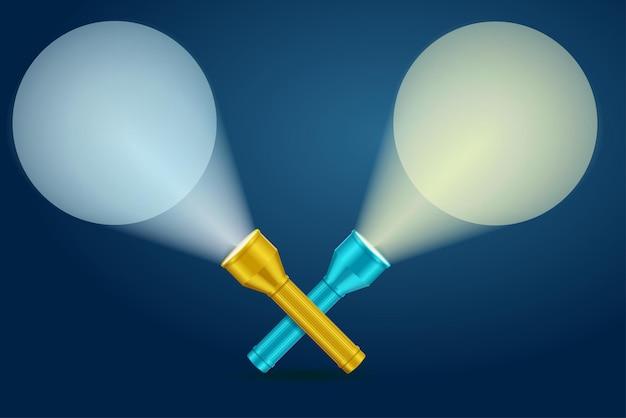 Lekka latarka. przecięcie promieni świetlnych.