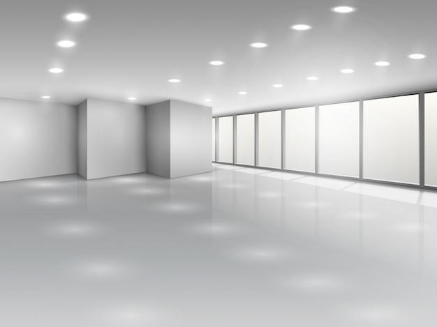 Lekka sala konferencyjna lub wnętrze otwartej przestrzeni biurowej