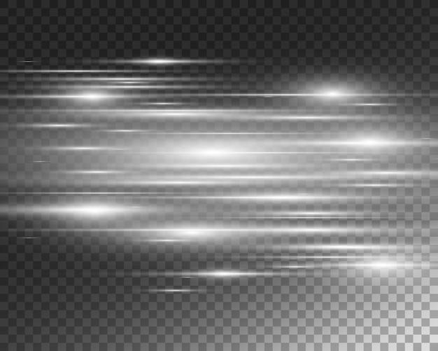 Lekki efekt specjalny. świetliste pasy na przezroczystym tle.
