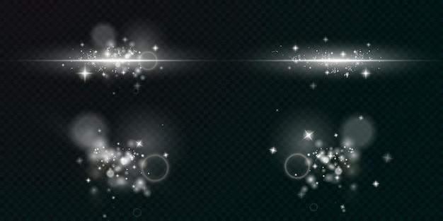 Lekki musujący pył z białymi błyszczącymi gwiazdami na przezroczystym tle błyszcząca tekstura