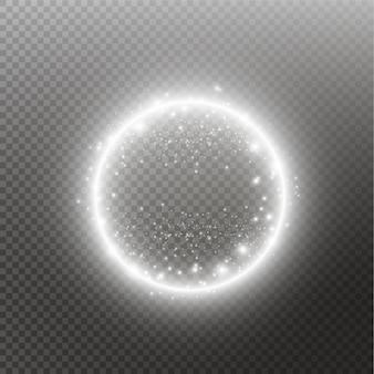 Lekki pierścień. okrągła błyszcząca rama z cząstek pyłu szlak światła na białym tle na przezroczystym tle.
