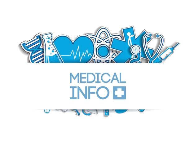 Lekki plakat opieki zdrowotnej z medycznymi niebieskimi naklejkami papierowymi na białym tle