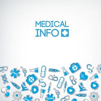 Lekki plakat opieki zdrowotnej z niebieskimi ikonami i elementami na białym tle