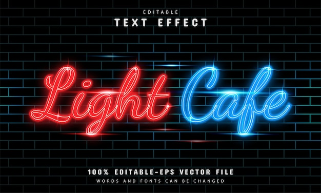 Lekki styl neonowy efekt tekstowy kawiarni