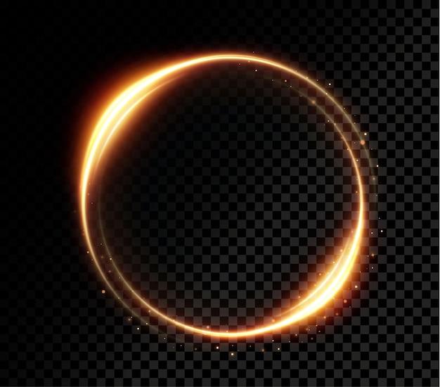 Lekki złoty efekt świetlny kręta krzywa złotej linii świecący złoty okrąg png