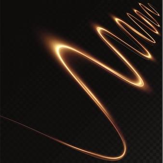 Lekki złoty efekt świetlny kręta krzywa złotej linii wektor png