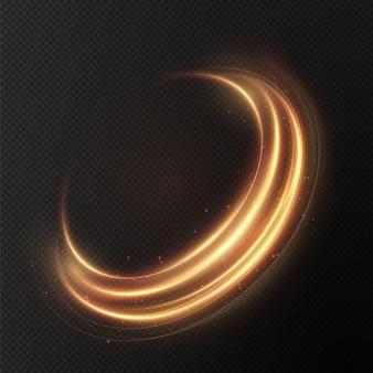 Lekki złoty efekt świetlny krętej krzywej złotej linii świecący złoty okrąg lekki złoty cokół