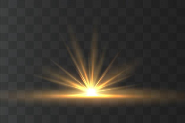 Lekki, żółty efekt specjalny, magiczne iskierki, promień słońca.