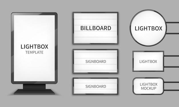 Lekkie pudełka. oświetlenie sklepowe 3d billboardy, znaki retro do kina.
