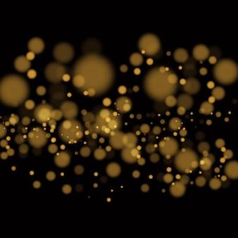 Lekkie streszczenie świecące światła bokeh. efekt bokeh świateł na przezroczystym tle. świąteczne fioletowe i złote świecące tło. koncepcja bożego narodzenia