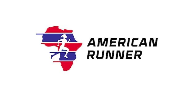 Lekkoatletyczne logo do biegania, maratonu i toru wyścigowego dla ameryki w kolorach flagi amerykańskiej