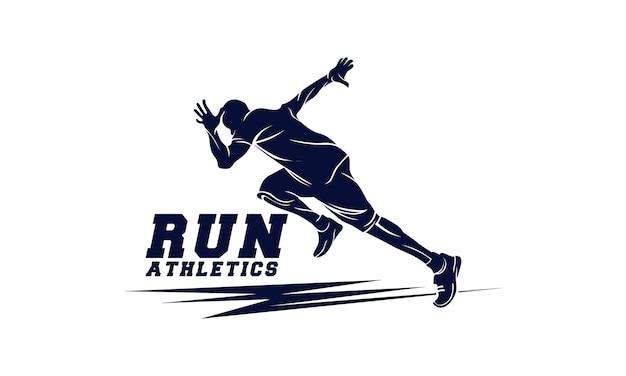 Lekkoatletyka. biegnący mężczyzna. godło sportowe