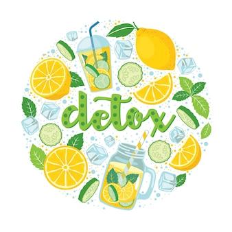 Lemoniada detox zestaw jasnych elementów w kole: cytryna, ogórek, mięta, filiżanka, słoik, kostki lodu, krople