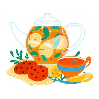 Lemoniada napoju szklany dzbanek, odświeżający naturalny zdrowy napój z ciastkiem odizolowywającym na białym, kreskówki ilustracja. plasterek cytryny szklanej herbaty.