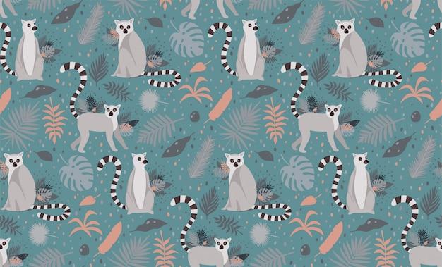 Lemur otoczony tropikalnymi liśćmi palmowymi. eleganckiego lata wektorowa bezszwowa deseniowa tekstura.
