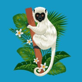 Lemur w gałęzi z egzotycznymi kwiatami i liśćmi