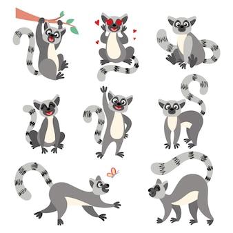 Lemury z kreskówek w różnych pozach