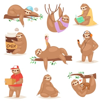 Lenistwo lenistwo zwierzęcia gra lub spanie w lenistwo ilustracja zestaw leniwych leniwców, czytanie książki lub leniwe jedzenie lodów na białym tle