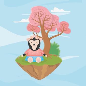Lenistwo niedźwiedź z kwiatami bajki fantasy