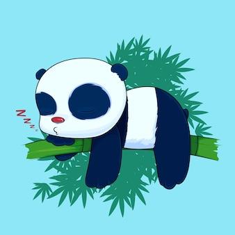 Leniwa panda śpiąca na bambusowym wektorze kreskówki premium