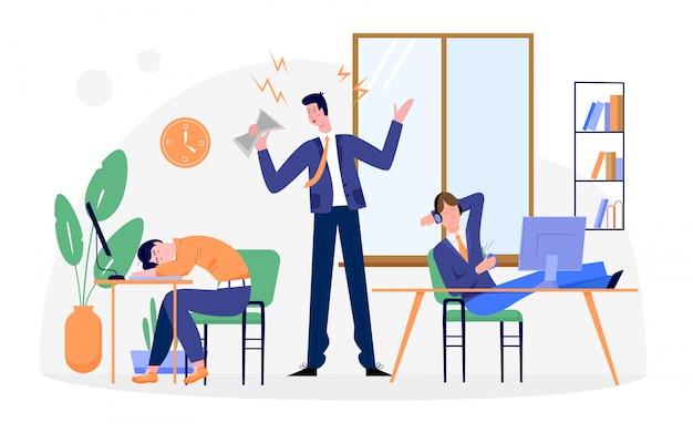 Leniwi biznesmeni ilustracji, biznesmen postać z kreskówki zmęczony rutynową pracą biurową, spanie przy biurku na białym tle