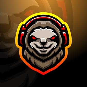 Leniwiec głowa maskotka esport ilustracja