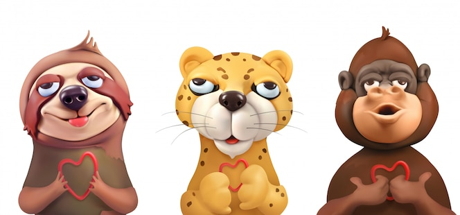 Leniwiec, lampart, małpa, urocze twarze, postacie z kreskówek. śliczne zwierzęta, grafika wektorowa
