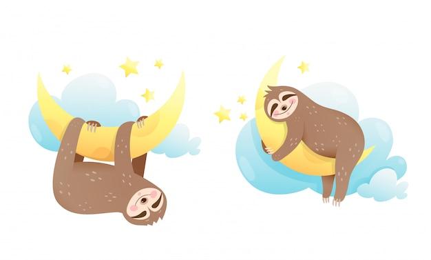 Leniwiec śpiący w chmurach, przytulający się do księżyca. śliczne clipart dla noworodków.