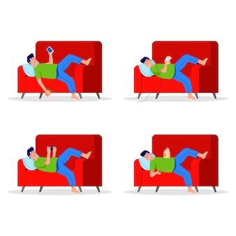 Leniwy chłopiec kładzie się na kanapie. siedzący tryb życia