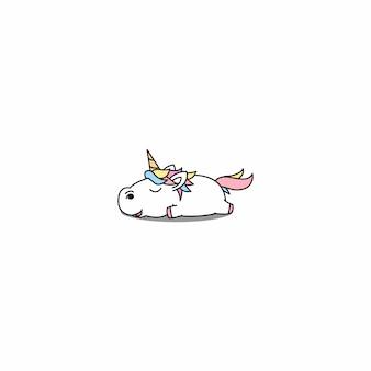 Leniwy jednorożec śpiący kreskówka