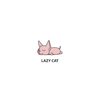 Leniwy Kot Sphynx Spanie Ikona Premium Wektorów
