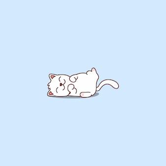 Leniwy Kot śpi Ikona Kreskówka Premium Wektorów
