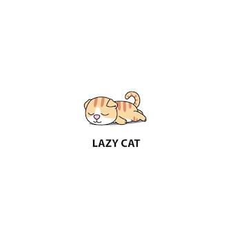 Leniwy Kot śpiący Ikona Scottish Fold Premium Wektorów