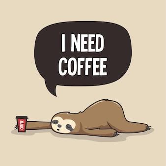 Leniwy leniwiec potrzebuje kreskówki kawy