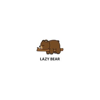 Leniwy niedźwiedź śpi na gałęzi kreskówka