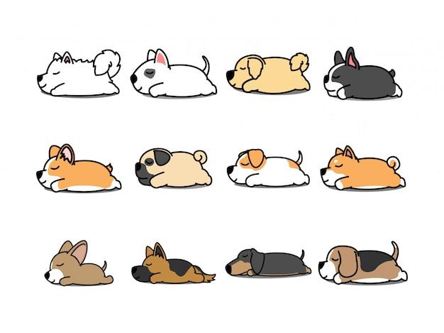 Leniwy pies śpi kreskówka zestaw ikon wektorowych