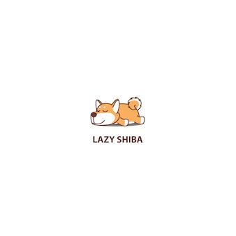 Leniwy shiba inu szczeniak spanie ikona