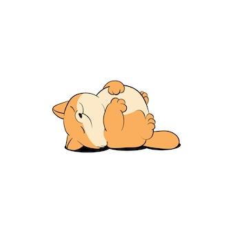 Leniwy, Tłusty Kot śpi Premium Wektorów