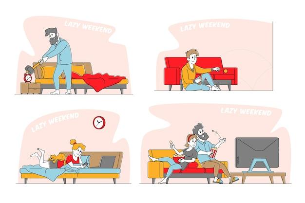Leniwy weekend zestaw ilustracji z postaciami płci męskiej i żeńskiej