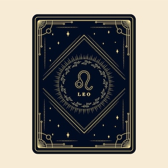 Leo znaki zodiaku karty horoskopów z gwiazdami konstelacji ozdobna karta zodiaku ozdobna ramka