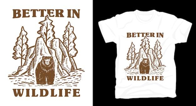 Lepiej w typografii dzikiej przyrody dzięki t-shirtowi z naturalnymi ilustracjami