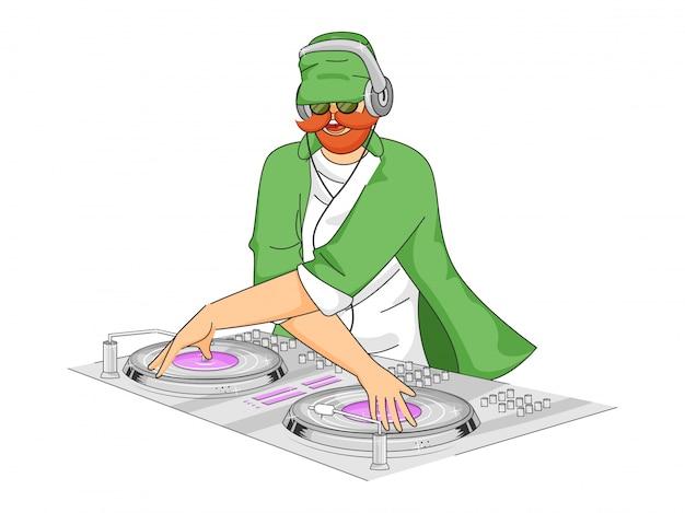Leprechaun man playing dj turntable.