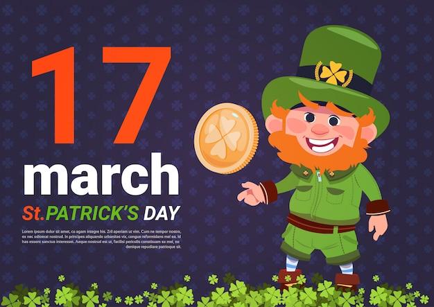 Leprechaun mężczyzna trzyma złotej monety st patricks dnia karty tła szablon