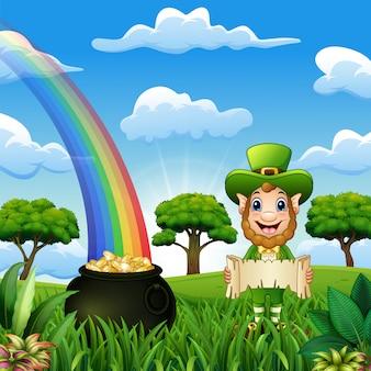 Leprechaun mężczyzna z menniczym garnkiem i kapeluszem na natury tle