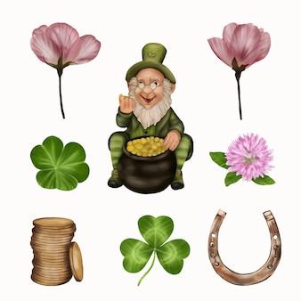 Leprechaun na dzień świętego patryka z koniczyną, monety, podkowa