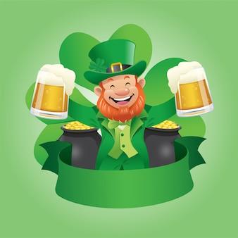 Leprechaun trzyma dwa szkła piwo