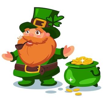Leprechaun w zielonym kapeluszu z czterolistną koniczyną i garnkiem złotych monet. postać z kreskówki na dzień świętego patryka na białym tle.