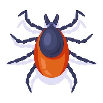 Leśne zapalenie mózgu kleszczy na białym tle. owad niebezpieczny dla ludzi. ilustracja wektorowa płaskie.